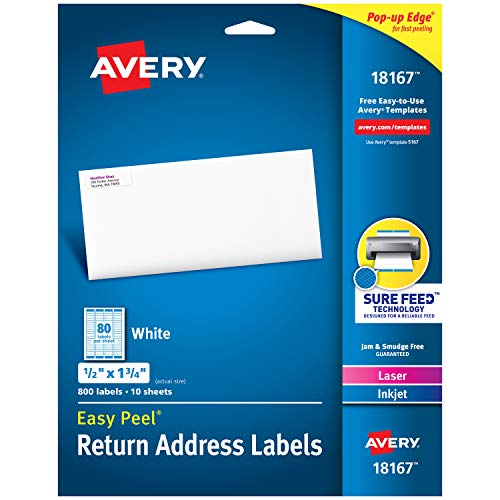 """Avery Address Labels with Sure Feed for Inkjet Printers, 0.5"""" x 1.75"""", 800 Labels, Permanent Adhesive (18167), White"""