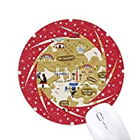 香港の中国の伝統的な地図 円形滑りゴムの赤のホイールパッド