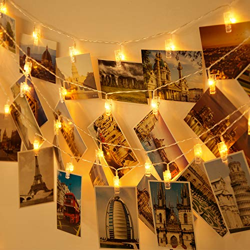 Aluan Photo Clip String Lights 60 LED 30ft USB/Battery Operated Christmas Fairy Lights 8 Modes Indoor String Lights for Hanging Pictures Cards Memos Home Party Wedding Wall Decor, Warm White