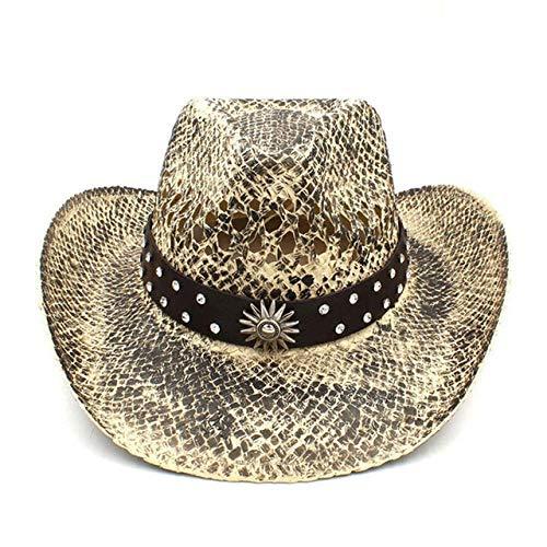 RZL Summer Sun Chapeaux Femmes Hommes Western Cowboy Chapeau de Paille d'été Fait à la Main Weave Lady Cowgirl Caps Bohême Tassel Ruban Taille 56-58cm (Couleur : C9 CAO)
