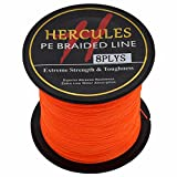 Hercules PE Superline geflochtene Angelschnur, 100?m 109yds 10lb-300lb, 8-fach, Herren, Orange,...
