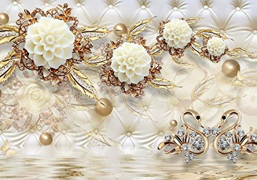 wandmotiv24 Fototapete Blumen Diamanten Luxuriös XXL 400 x 280 cm - 8 Teile Fototapeten, Wandbild, Motivtapeten, Vlies-Tapeten Gold, Wasser, Polster M1815