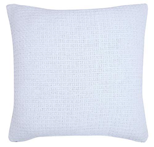 Bed Bath and Home Deko-Kissenbezüge für Sofa, Couch, Bett, 100 % Baumwolle, Waffelmuster, 45,7 x 45,7 cm, elfenbeinfarben, 2 Stück