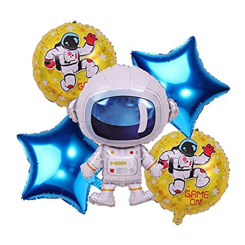 JSJJATF Globos Fiesta Astronauta Cohete Barco de Aluminio Globos niños Planeta Sistema Solar Tema cumpleaños Banner decoración Suministros (Color : Set 7)
