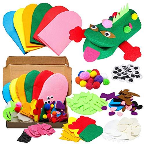 MILISTEN Kit de Fabricación de Marionetas de Mano Fieltro Marioneta de Dedo Calcetín Art Craft Set with Pompoms Googly Wiggle Eyes for Kids DIY Project Party Favor Stocking Stuffer Goodie