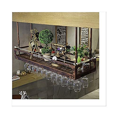 Estante De Vino Colgante De Hierro Marrón, Estante Bar Decoración Vinoteca Estante De Vino Copa De Vino GMING (Size : 60 * 35cm)