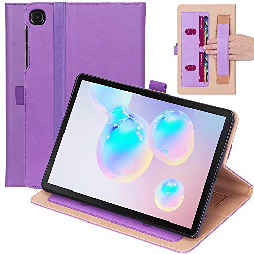 Ratesell Galaxy Tab S6 Lite Case, Multi-Angle Business Cover Built in Pocket Hand Strap Compatible with Samsung Galaxy Tab S6 Lite 10.4 Inch Model SM-P610 / SM-P615 / SM-P617 Purple