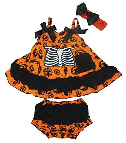 Petitebelle Squelette Orange citrouille Couvercle basculant bloomer Ensemble de pantalon pour bébé Nb-24 m - Marron - M