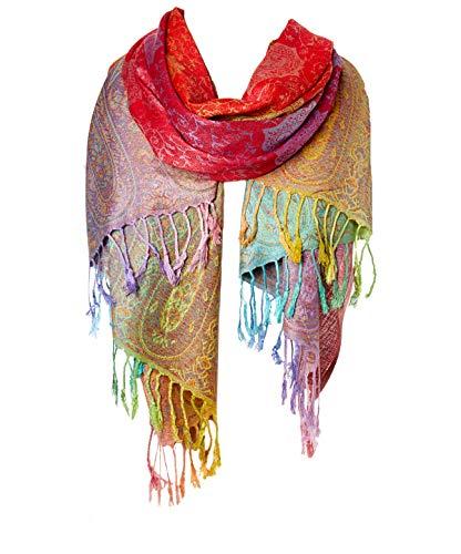 Fashion Women's Silk Scarf Luxury Satin Shawl Wraps (Red)