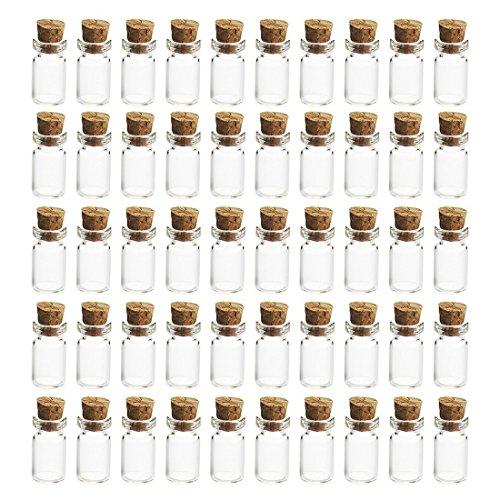 LVPY 50 Stück 5ml Mini Glasflaschen Klein Glasfläschchen mit Korken, 50 Stück Glasflaschen Klein, Nachricht Flaschen,1.2 x 2.4 cm