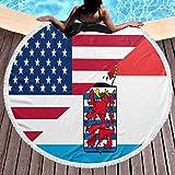 YURONG Provincia de Luxemburgo y Bandera Americana Toalla de Playa Redonda Manta de 59 Pulgadas Mantel de algodón Toalla de Picnic Estera de Yoga para Adultos/niños