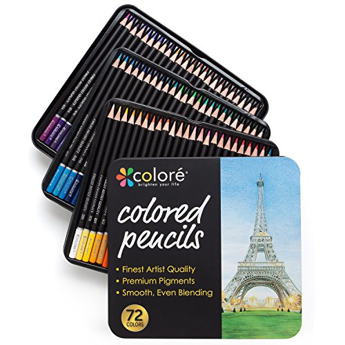 Colore Colored Pencils - 72 Premium Pre-Sharpened Color Pencil Set For...