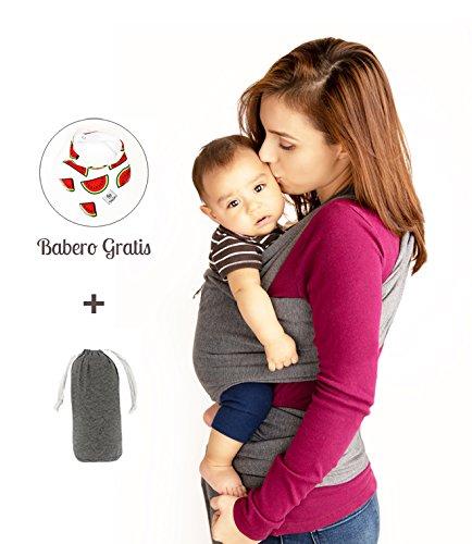 Baby Wrap Fular Semirígido Premium de Algodón Orgánico para Bebés de 0 a 36 meses Unitalla + (Babero Gratis) (Gris Oxford)