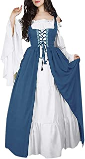 Clearance Renaissance Dress, Forthery Womens Renaissance Medieval Irish Costume Over Dress and Pure White Chemise Set