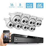 Amcrest 4K Security Camera System w/ 4K 16CH (8-Port PoE) NVR, (8) x 4K (8-Megapixel) Metal Turret Dome POE IP Cameras (3840x2160), Hard Drive Not Included, NV4116E-IP8M-T2499EW8 (White)