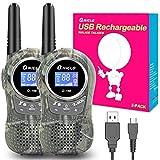 QNIGLO Q168Plus Walkie Talkie Niños Recargable USB,Más de 2KM de Larga Distancia y 8 Canales PMR Voz Activada,Juguetes al Aire Libre Mejor Regalo,con Baterías de Litio(Q168plus Green)