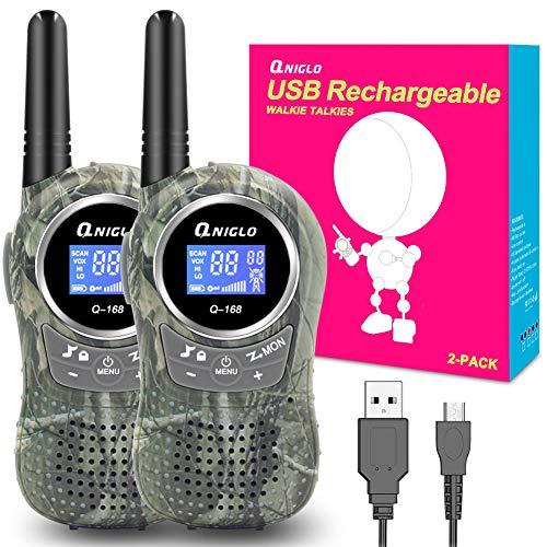 QNIGLO Q168Plus Walkie Talkie Niños y Adultos Recargable USB,Más de 2 Millas de Larga Distancia y 8 Canales PMR Voz Activada,Juguetes al Aire Libre Mejor Regalo,con Baterías de Litio(Q168plus Green)