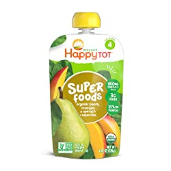 Happy Tot Superfoods Stage 4 Organic Toddler Food Pear Mango Spinach, 4.22 Ounce Pouch (Packaging Ma