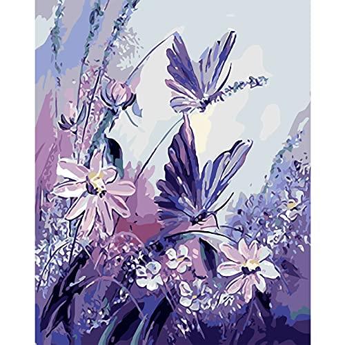 NIULLA Erwachsene Und Kinder Digitale Rahmenlose Ölgemälde Leinwand Digitale Malerei Pigment Farbfarbe DIY Landschaft Blume Ölgemälde 16X20 Zoll,T02