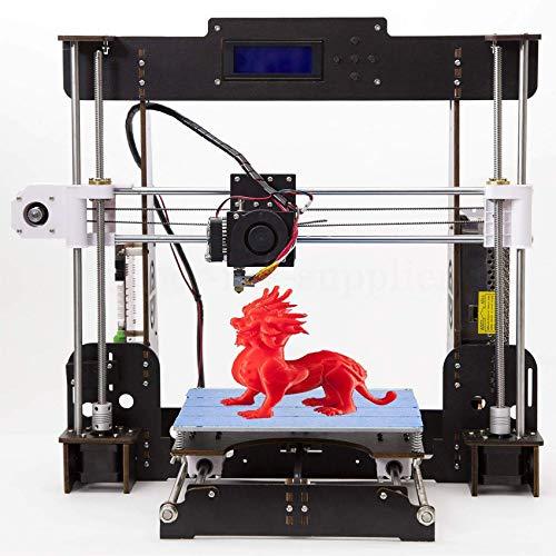 3D Printer, A8-W5 Pro DIY LCD Screen Desktop 3D Printer Kit with 1.75mm ABS/PLA Printer Filament(Build Size 220×220×240mm) (Wood 3D Printer)