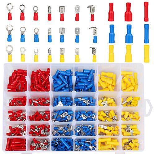 Kabelschuhe,DIAOPROTECT 480tlg kabelverbinder Quetschverbinder Sortiment,Elektrische Steckverbinder enthält Ring-Kabelschuhe,Rundstecker,Rundsteckhülsen,Flachstecker,Flachsteckhülsen und Stoßverbinder