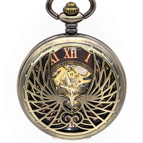 KUANDARGG Reloj De Bolsillo para Hombre Reloj De Bolsillo Steampunk Dragón Reloj De Bolsillo Cadena Collar Colgante Automático Mecánico Viento Manual, Wing