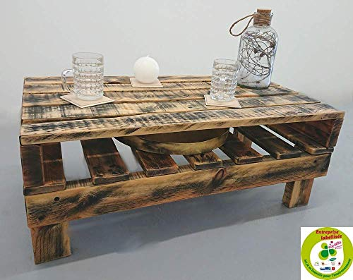 table basse en bois, noiré huile de lin, style industriel : 80x43x30 cm