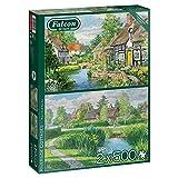 Jumbo Riverside Cottages Piece Jigsaw Puzzles Falcon de Luxe-Casas de Campo de río 2 x 500 Piezas Rompecabezas, Multicolor (11289)