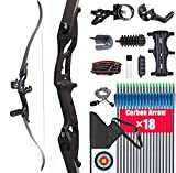 XGeek Takedown Recurve Bow and Arrow for Adults Kit 35/40/45 Lbs Aluminum Alloy Riser Hunting Shooting Practice Competition Archery Longbow Set Right Hand, with All Accessories