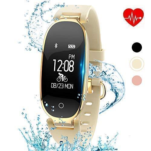Kingkok Elegant Waterproof Fitness Tracker for Women Smart Bluetooth Pedometer Watch Band Multi-Mode Wireless Activity Tracker Bracelet [Karatgold]