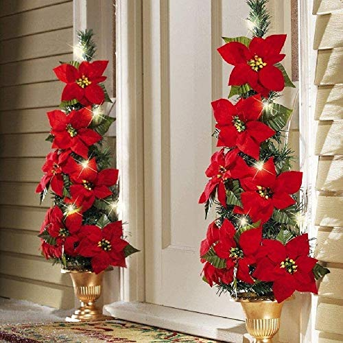 2 Pack Lighted Artificial Red Poinsettia Christmas Garland String with Red Berries Maple Leaves, Pre-Lit Velvet Fairy Light for Holiday Front Door Decoration Wreath (Red Poinsettia Wreath, 2 Pack)
