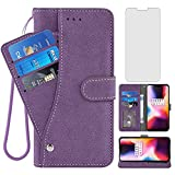 Asuwish Compatible with OnePlus 6 Wallet Case and Tempered Glass Screen Protector Flip Cover Card Holder Stand Cell Phone Cases for OnePlus6 A6000 One Plus6 1 Plus 1plus Six One+ 1+ 6 Women Men Purple