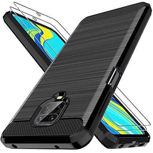 LK Hülle Kompatibel mit Xiaomi Redmi Note 9S / Note 9 Pro & 2 Stück Bildschirmschutz Schutzfolie, Kompletter Schutz Weich TPU Silikon Schutzhülle Kratzfest Handyhülle Hülle Cover - Schwarz