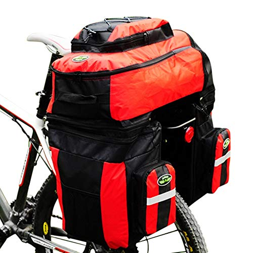 Liinmall Outdoor FJQXZ 70 L Bike Panniers Bag 3 in 1 Adjustable Large Capacity Bike Saddle Bag 1680D Polyester Bicycle Bag Cycle Bag Cycling/Bike/Waterproof/Removable (Red)