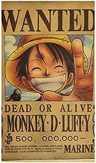 ملصق ريترو من سلسلة مكافآت أنيمي قطعة واحدة، ملصق ورق كرافت ، ملصقات قطعة واحدة ، شخصيات ، لوحات زخرفية Monkey D Luffy
