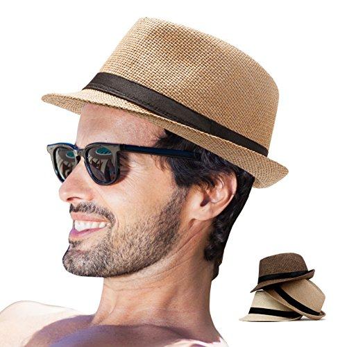 Fedora Hat Mens Fedora Hats for Men Trilby Hat Straw Sun Hat Panama Hat for Men (Pack of 3(Beige,Coffee,Khaki))