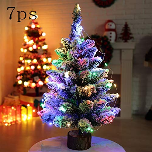 daoli Optical Fiber Cree Smas Tree Indoor Christmas Decoration 50CM LED Artificial Christmas Tree Tree On Round Wooden Base With Battery Powered String Light Xmas Tabletop Decor Best Choice Pro