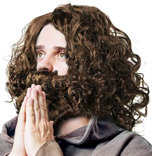 Perücke & Bart - Jesus | Prophet | Guru | Hipster | Waldschrat | Urmensch in braun für Fasching / Karneval & Motto Party´s