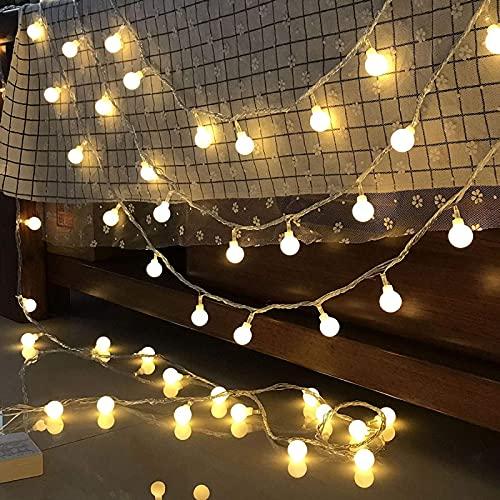Bombillas LED, luces de bola, luces decorativas, bombillas, luz exterior eléctrica romántica, banquete de boda, balcón, dormitorio, interior y exterior, 10 metros, 80 luces, B