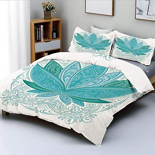 Duvet Cover Set,Lotus Flower with Ornaments Ethnic Exotic Petals Mehndi Traditional Boho Design Decorative 3 Piece Bedding Set with 2 Pillow Sham,Teal Sky Blue,Best Gift For Kid