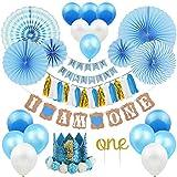 ZNZ DECORACIÓNES para EL Primer CUMPLEAÑOS para BEBÉ - NIÑO NIÑA 1 año Fiesta de Cumpleaños, Globos Pancartas Papel de Abanico Flor y Pastel Topper de Corona de Tiara,Gorra, Diadema, Papel Borla