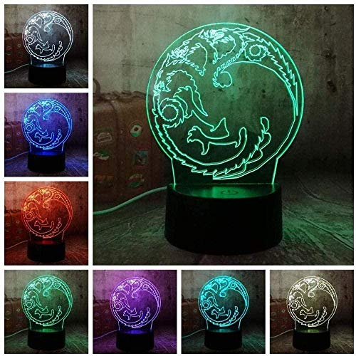 LSDAMN Ilusión óptica 3D del trono Casa de Targaryen Una canción de fuego de hielo Luz de noche de 7 colores sin marca para niños Niños y niñas como regalos perfectos en cumpleaños o días festivos