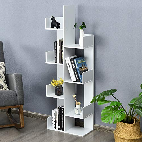 CASART Tree Shape Bookshelf, 7-tier Bookcase with 8 Storage Compartments,...
