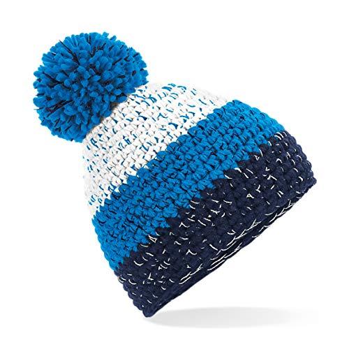 Beechfield Gorro Freestyle Beanie Unisex Woble Bobble Knitted Winter Warm Hat - Blanco/Azure/Azul/Oxford Navy