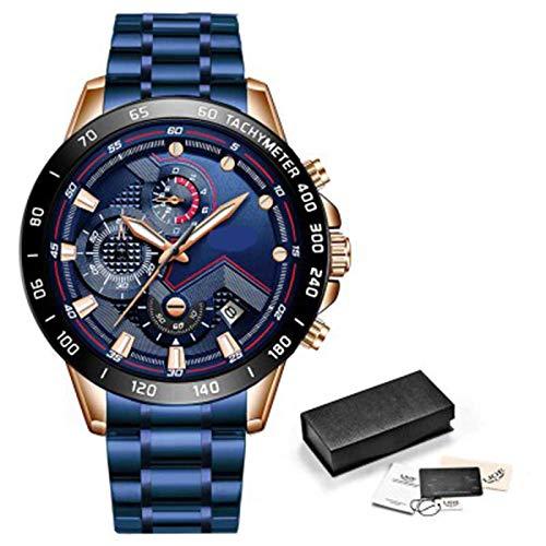 ZTT Herrenuhren Luxuxedelstahl Blaue wasserdichte Quarz-Uhr-Mann-Mode-Chronograph Male Sport Military Watch,D