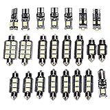 Yctze Lampe de plaque d'immatriculation de voiture, 23pcs ampoule blanche 6500K 150LM 12V T10 SMD LED pour lampe de lecture de voiture