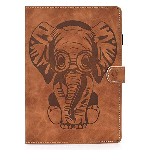 JCTek Tablet Case Compatible With New iPad Air 4 10.9 Inch 2020, PU Leather Flip Folio Smart Stand Cover with Multiple Angle and Cards Holder (embossed elephant brown)