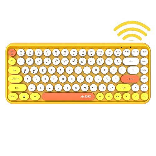FELICON Bluetooth Tastatur 2,4 GHz Kabellose, Kompakte, Leichte Tastatur im Retro-Stil, Matte Textur, 84 Tasten, Kompatibel mit Android und Anderen Geräten,Geeignet für Heim- und Bürotastaturen(Gelb)