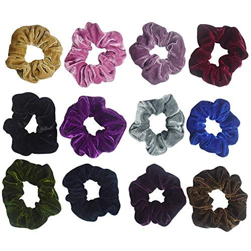12 pcs Couleurs Assorties Classique Élastique Velours Titulaire De Queue De Cheval Bande De Cheveux Tressés Cravates Cordes pour Femmes Filles