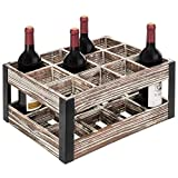 MyGift Rustic Metal & Wood Crate 12-Bottle Tabletop Wine Rack